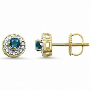 Art Deco Round Blue Topaz & Diamond Earrings 0.35cts 10k Yellow Gold