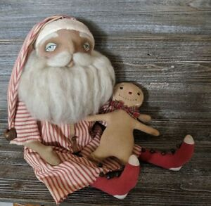 Primitive Christmas Santa Doll With Gingerbread Man ~ Handmade