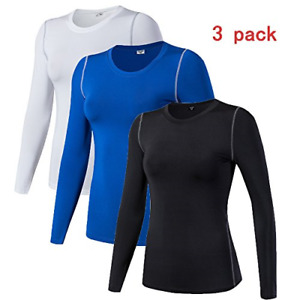 Women's Compression Shirt Dry Fit Long Sleeve Running Athletic T-Shirt Workout 3