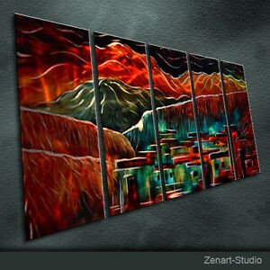 Original Metal Wall Art Modern Painting Sculpture Indoor Outdoor Decor by Zenart