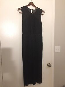 Sandro Designer Evening Dress Black Sparkle Open Back. Sz M See Measurements
