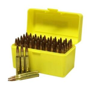 Max-comp Ammo Box Rifle 100 Rounds Yellow Fits .204 .222 .223 Cal Ammo Case
