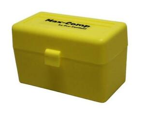Max-comp Ammo Box Rifle 50 Rounds Yellow Fits .25-06 .270 .30-06 Cal Case