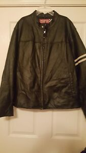 Wilsons Leather Mens Vintage Snap Scuba Collar Leather Jacket XL Large Stripe