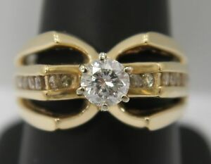 14K Gold ~ UNIQUE 1 Carat Natural DIAMOND Cathedral Mount *SPIDER* Style Ring