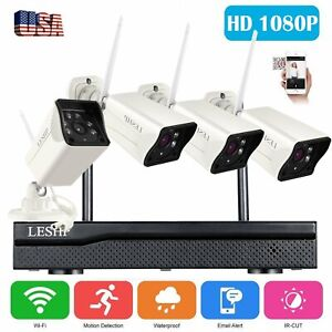 4CH 1080P NVR 4* Outdoor IP Camera Wireless Security CCTV System IR Kit Lot BE