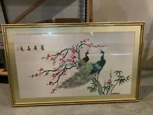 Vintage Peacocks on the tree Flowers Hand Sewn Silk Pictures golden Framed