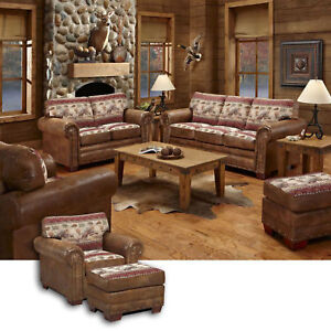 American Furniture Classics Sierra Lodge Sofa Loveseat Chair & Ottoman Set