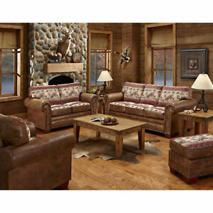 American Furniture Classics Deer Valley Sofa Loveseat Chair & Ottoman Set Lot