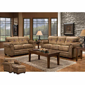 American Furniture Classics Wild Horses Sofa Loveseat Chair & Ottoman Set Lot