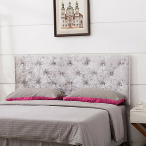 Upholstered King Size Headboard Button Tufted Adjustable Headboards Velvet Taupe