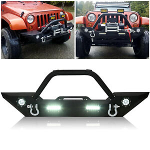 Fit 07-18 Jeep Wrangler JK Front Bumper + Winch Plate D-ring LED Light Bull Bar