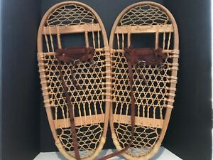 """Vintage Swenson and Swenson Bearpaw Snow Shoes 29"""" with Leather Bindings"""