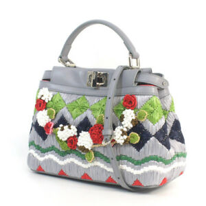 FENDI Satchel Peek-A-Boo 2way shoulder bag handbag embroidery AB20104210