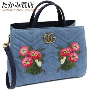 Gucci 2WAY handbag GG Momanto embroidery denim light 448054 (N1055