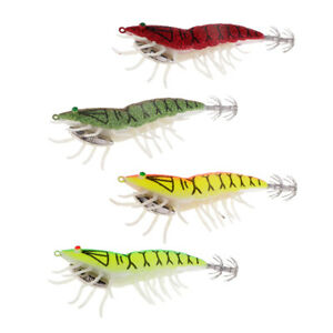 4pcs Shrimp Fishing Lures Artificial Baits Glow in the Dark Squid Jig Hooks
