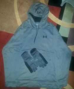 Under Armour ColdGear Grey Hoodie loose 2XL XXL with gloves
