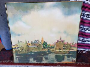 John Clem Clarke original Oil Painting on canvas View of Delft Netherlands 1967