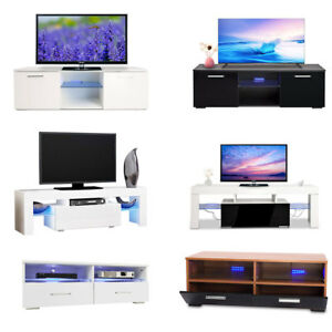 TV Unit Cabinet High Gloss Stand w LED Light Shelves Drawer Console Living Room