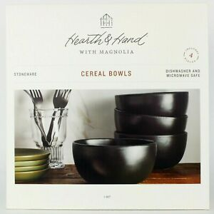 Hearth and Hand - Set of 4 - Matte Black Stoneware Cereal/Soup Bowls Magnolia