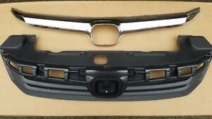 New Set 2012 HONDA CIVIC 4dr SEDAN Front Bumper Grille & Chrome Molding 2PC