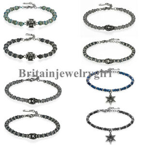 5MM Beaded Buddha Skull Stainless Steel Chain Bracelet for Men Women Fit 7