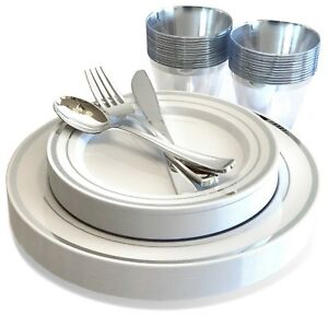 25 Guest Silver Plastic Dinnerware Set Disposable Plates Cups Silverware Cutlery
