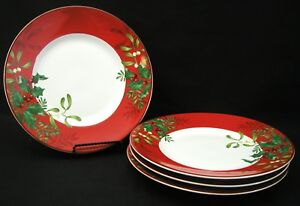 222 FIFTH Christmas Foliage SaladDessert Plates - Holly Red - Set of 4 - NEW!!
