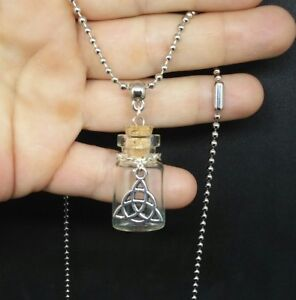 CHARMED triquetra empty fillable potion spell glass vial bottle necklace $9.99