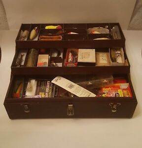VINTAGE KENNEDY TACKLE BOX LOADED WITH LURES BOXES RARE TACKLE lures flies LK
