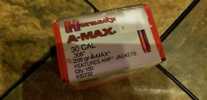 Hornady A-Max Reloading Bullets 30 Caliber (308 Dia) 208 Grain Boat Tail 100