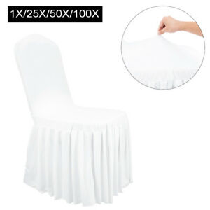 1-100X Universal Full Seat Chair Cover Pleated Skirt Polyester Dining Wedding US