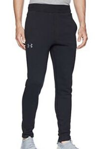 New Under Armour Mens Rival Fleece Sweatpants Sz 4XL Black Fitted Tapered