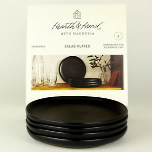 Hearth and Hand Magnolia - 8in Salad Plates - Matte Black Stoneware - Set of 4