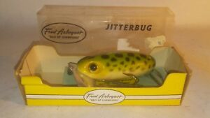 Vintage Fred Arbogast Jitterbug in box  Lure Bait insert Collectible frog spot