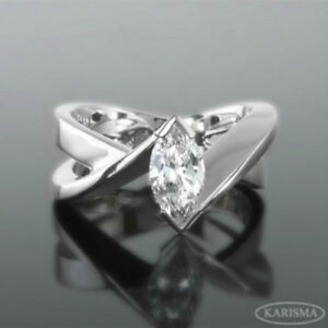 FLAWLESS DESIGNER DIAMOND MARQUISE RING VS1 1.5 CT SIZE 4.5 - 9 18K WHITE GOLD