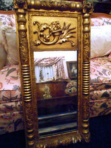 AMERICAN ANTIQUE GILDED PIER MIRROR CORNUCOPIA DESIGN CIRCA 1830!