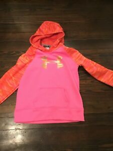 Under Armour Girls Hot Pink And Orange Camo Print Hoodie Size 18 20 $14.99