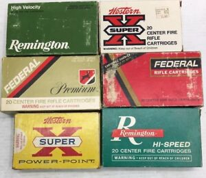 6-RARE 270 AMMUNITION BOXES •WESTERN•FEDERAL•WINCHESTER•REMINGTON •