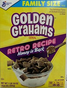 NEW GENERAL MILLS FAMILY SIZE GOLDEN GRAHAMS CEREAL 19.6 OZ BOX FREE SHIPPING