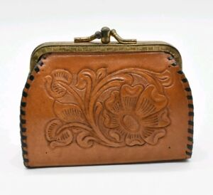 Vintage Western Leather Tooled Change Purse Kiss Lock Floral Paisley Design