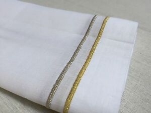 White Gold Silver Embroidery Linen Cloth Dinner Napkin 20