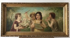 "Large Victorian Painting Oil On Canvas""Children's Choir"" Charming $1250.00"