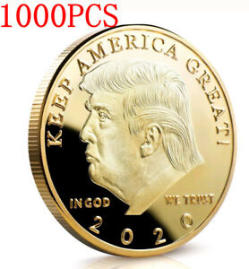 1000PCS Donald J Trump 2020 Keep America Great Commander Gold Challenge Coin KY