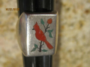 VINTAGE ZUNI STERLING SILVER INLAY TURQUOISE CORAL RED BIRD CARDINAL RING