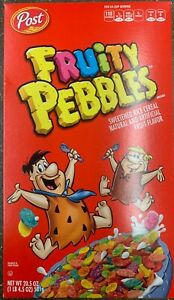 NEW POST FRUITY PEBBLES CEREAL 20.5 OZ BOX SWEETEN FRUIT FLAVORED RICE YUMMY