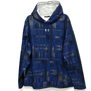 Mens Under Armour Loose Blue Hoodie Size XL Blue Black Pullover Top Sweatshirt