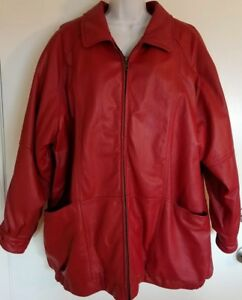 Womens Venezia Red Genuine Leather Jacket Size B2 Plus Size 2X Quilted Lining
