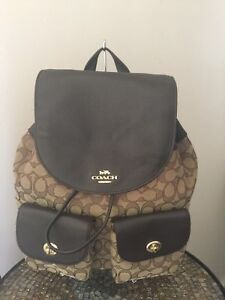 NWT Coach Sig Billie Jacquard Leather KhakiDark Brown Backpack~F30275~$375+Tax