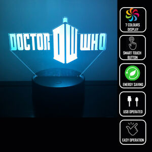 DOCTOR WHO TELEPHONE BOOTH 3D Acrylic LED 7 Colour Night Light Touch Table Lamp